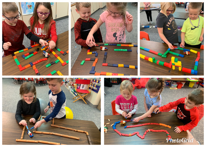 The kindergarteners practiced push and pull forces with magnet mazes today.