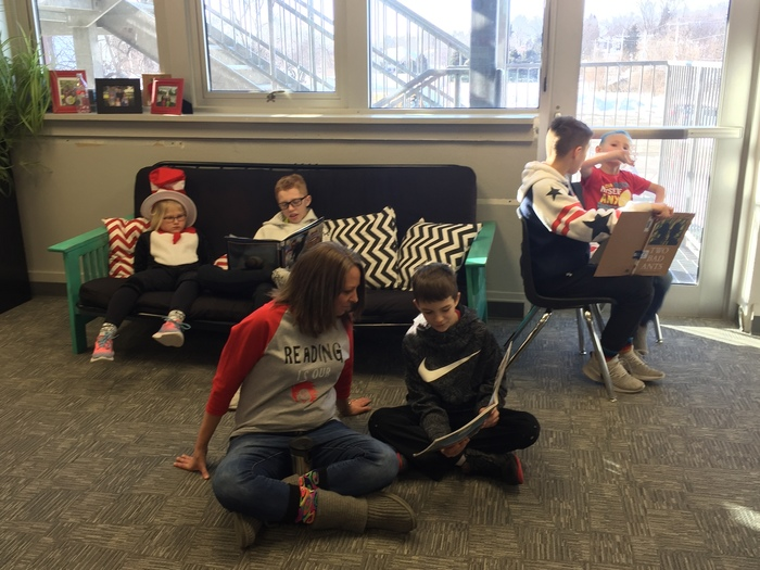Students reading for RAA day!
