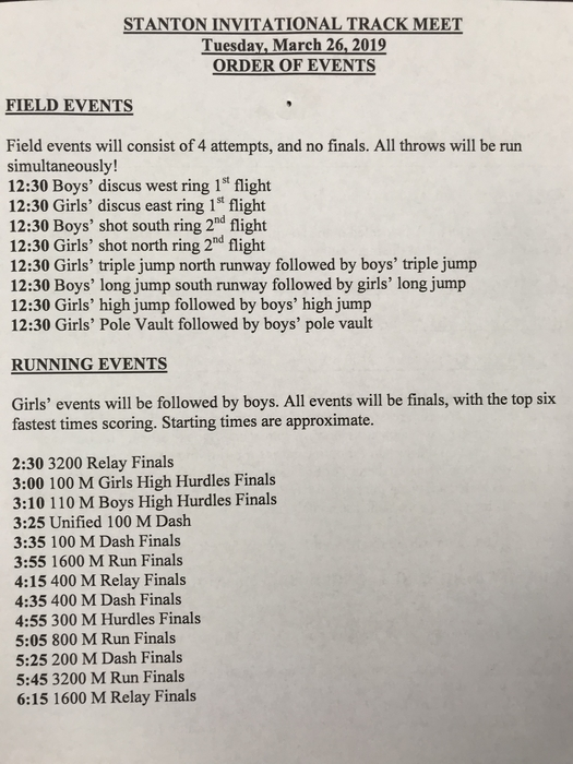 Stanton Invite Order of Events