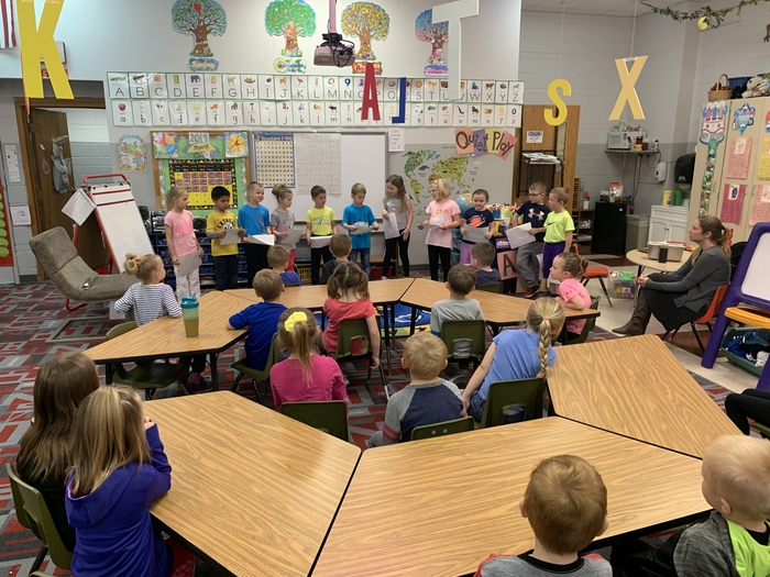 "The kindergarteners gave advice the preschoolers today. ""So you're going to be a kindergartener. Here's what you need to know."""