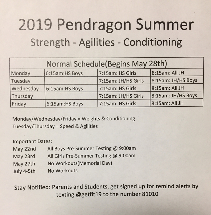 Summer 2019 weights and agilities schedule.