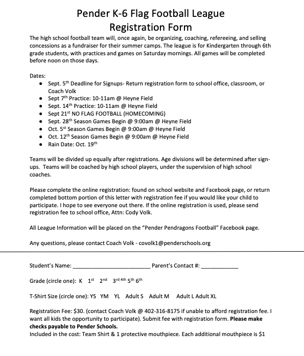 Flag Football Sheet