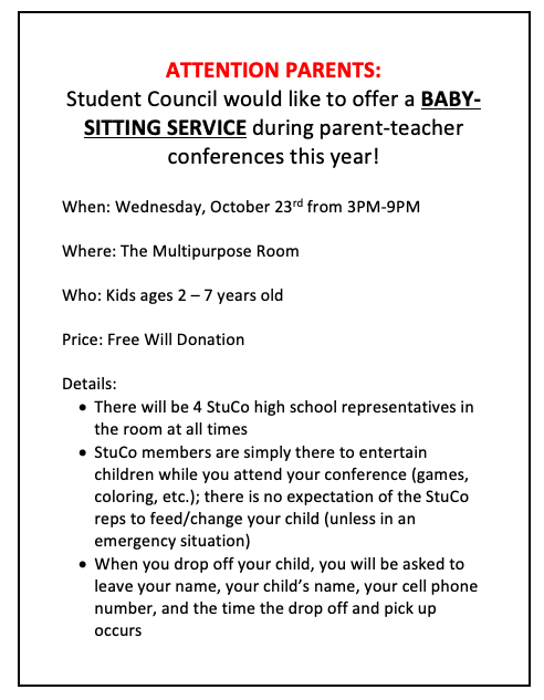 StuCo Babysitting Fundraiser