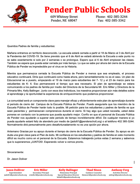 closure letter - Spanish